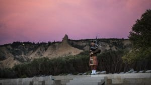 Image of Australian Army Bag Piper Musician Dave Leaders conducts a rehearsal at the Ari Burnu cemetery ahead of the 2017 Anzac Day commemorations in Gallipoli, Turkey.