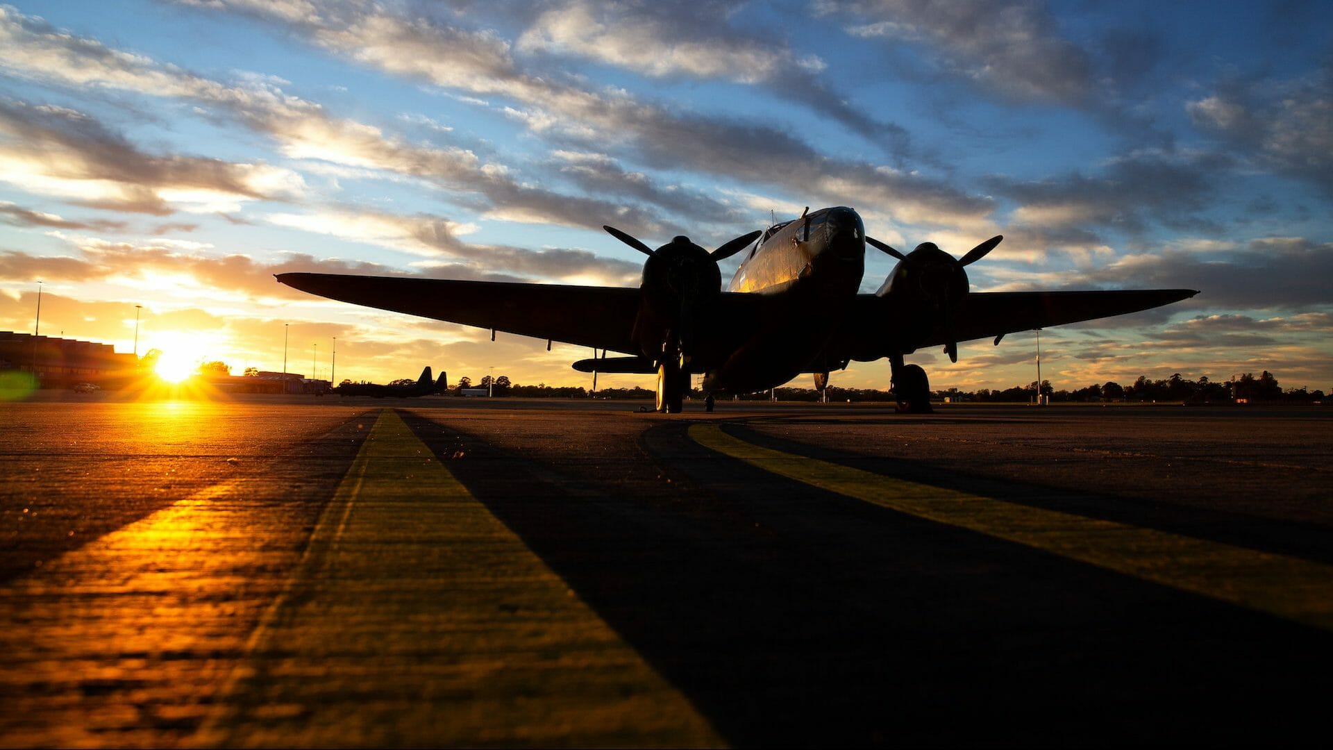 Image of a No. 100 Squadron Lockheed Hudson aircraft on the RAAF Base Richmond flightline, New South Wales.