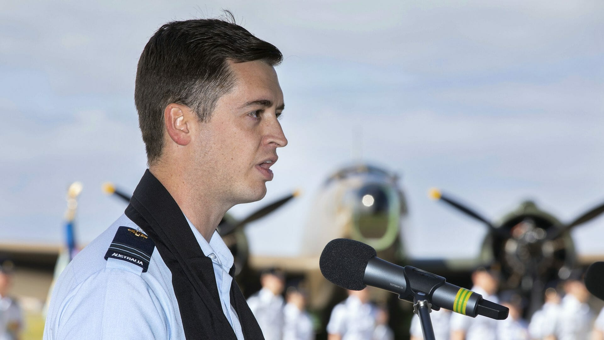 Image of Chaplain Conrey Ferreira offers a blessing at the 50th anniversary memorial of Magpie 91 held at RAAF Base Williamtown.