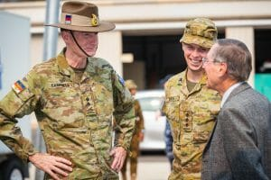 Image of the Australian Commanding Officer General Angus Campbell, AO, DSC, and Chaplain Captain Chris Booth