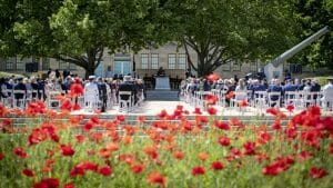 Image of The 2020 Remembrance Day ceremony held at the Australian War Memorial, Canberra.